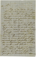 Military & Patriotic:Foreign Wars, Two Unsigned Letters to Ramón Músquiz Regarding the Cortina Raids, Circa 1855. ...