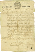 Military & Patriotic:Foreign Wars, Pedro Vidaurri Naming Juan Nepomuceno Seguin - Guilty of Theft by Conversion - Document Signed. ...