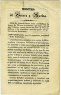 Books:Early Printing, [Pedro Maria Anaya] Mexican War Agreement Ceasing All Hostilities,...