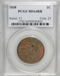 1838 1C MS64 Red and Brown PCGS. PCGS Population (28/26). NGC Census: (11/29). Mintage: 6,370,200. Numismedia Wsl. Price...