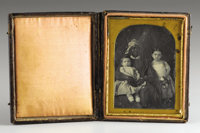 African-American Nursemaid (Slave) with Two White Children, Cased Daguerreotype, ca. 1850s