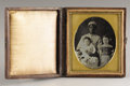 Photography:Daguerreotypes, African-American Nursemaid (Slave) with Two White Children, Cased Daguerreotype, New Orleans, Ca. 1850s....