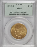Indian Eagles: , 1912-S $10 XF40 PCGS. PCGS Population (11/528). NGC Census:(5/584). Mintage: 300,000. Numismedia Wsl. Price for NGC/PCGS c...