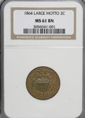 Two Cent Pieces: , 1864 2C Large Motto MS61 Brown NGC. NGC Census: (26/1030). PCGSPopulation (16/553). Mintage: 19,847,500. Numismedia Wsl. P...