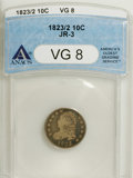 Bust Dimes: , 1823/2 10C Small Es VG8 ANACS. JR-3. NGC Census: (1/92). PCGSPopulation (0/54). Mintage: 440,000. Numismedia Wsl. Price: $...