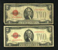 Fr. 1502 Pair of $2 1928A Legal Tender Notes ending in #85. Very Good-Fine. An interesting and well matched pair of this...