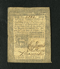 Pennsylvania October 25, 1775 1s Very Fine. A well signed example of this much scarcer denomination