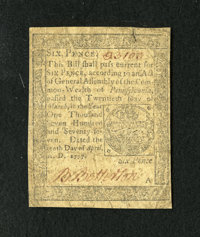 Pennsylvania April 10, 1777 6d Very Fine-Extremely Fine. A pleasing circulated small change note that is attractive with...