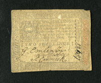 Pennsylvania October 1, 1773 2s Very Fine. Bold signatures and serial number remain on this moderately circulated coloni...
