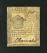 Pennsylvania October 25, 1775 9d About New. A tightly margined but wonderfully signed and numbered small change note fro...
