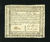 Virginia March 1, 1781 $500 About New. A broadly margined and wonderfully embossed example of this thick paper variety t...