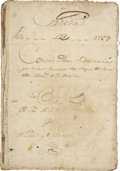 Miscellaneous:Ephemera, Slavery - Carlos Francisco de Croix Signed Court TranscriptRegarding a Stolen Slave Girl. ...