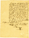 "Autographs:Non-American, Juan Bautista Florencio Canales Autograph Document Signed. Onepage, 6"" x 8"", Agualeguas, Mexico, November 13, 1838. As comm..."