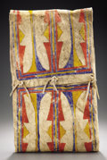 American Indian Art, A CHEYENNE PAINTED BUFFALO HIDE PARFLECHE STORAGE ENVELOPE. c. 1860. ...