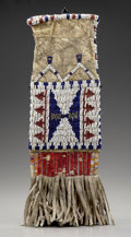 American Indian Art:Beadwork and Quillwork, A SIOUX BEADED AND QUILLED HIDE MODEL TOBACCO BAG. c. 1890...