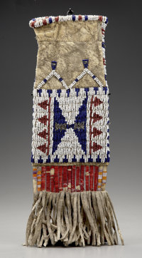 A SIOUX BEADED AND QUILLED HIDE MODEL TOBACCO BAG c. 1890