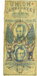 Political:Ribbons & Badges, Lincoln & Johnson: Extremely Rare Red, White, and Blue 1864 Jugate Campaign Ribbon....