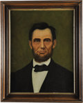 """Political:3D & Other Display (pre-1896), ABRAHAM LINCOLN. . Freeman Woodcock Thorp (American, 1844-1922). . Oil on canvas. . 16.5"""" x 21"""" sight size. Framed ..."""