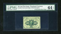 Fractional Currency:First Issue, Fr. 1240 10c First Issue with Two Full Perforation Strips PMGChoice Uncirculated 64 EPQ....