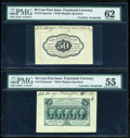 Fractional Currency:First Issue, Fr. 1313SP 50c First Issue Wide Margin Pair with Morgan Courtesy Autograph PMG About Uncirculated 55/62.... (Total: 2 notes)