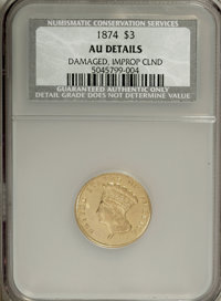 1874 $3 --Damaged, Improperly Cleaned--NCS. AU Details. NGC Census: (76/1945). PCGS Population (143/1353). Mintage: 41,8...
