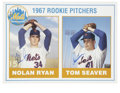 Baseball Collectibles:Others, Nolan Ryan and Tom Seaver Dual-Signed Oversized Rookie Card. Thisreproduction card was created in 1990 to serve as a fanta...