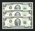 Error Notes:Missing Face Printing (<100%), Fr. 1936-F $2 1995 Federal Reserve Notes. Three Consecutive Examples. Gem Crisp Uncirculated.. ... (Total: 3 notes)