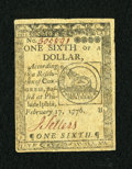 Colonial Notes:Continental Congress Issues, Continental Currency February 17, 1776 $1/6 Very Fine-ExtremelyFine....