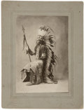 Photography:Cabinet Photos, Imperial Size Cabinet Card Photograph Indian Chief with FantasticWar Bonnet, Pendleton, Oregon, ca. 1890s. ...