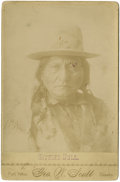 Military & Patriotic:Indian Wars, Bust Image of Sitting Bull with Monarch Butterfly, ca 1890s. ...