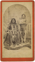 Military & Patriotic:Indian Wars, Mescalero Apache Sitting in Whittick Studio, San Carlos, New Mexico Territory, ca. 1880s....