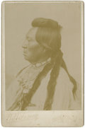 "Western Expansion:Indian Artifacts, Cabinet Card Photograph of ""Yakima Indian,"" State of Washington,ca. 1880s...."