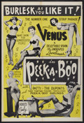 "Movie Posters:Sexploitation, Peek a Boo (Unknown, 1953). One Sheet (28"" X 41"").Sexploitation...."