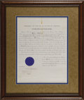 Autographs:U.S. Presidents, Franklin D. Roosevelt: Signed Appointment as Acting Secretary of the Navy....