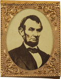 Political:Ferrotypes / Photo Badges (pre-1896), Abraham Lincoln: Scarce Oversized 1864 Campaign Photo Badge in MintCondition....