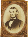 Political:Ferrotypes / Photo Badges (pre-1896), Abraham Lincoln: Pristine 1864 Photo Badge....