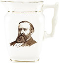 Political:3D & Other Display (pre-1896), Harrison & Morton: Unusual Campaign Portrait Pitcher....