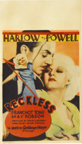"Movie Posters:Drama, Reckless (MGM, 1935). Midget Window Card (8"" X 14"")...."