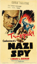 "Movie Posters:Drama, Confessions of a Nazi Spy (Warner Brothers, 1939). Midget WindowCard (8"" X 14"")...."