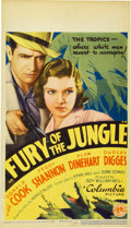"Movie Posters:Drama, Fury of the Jungle (Columbia, 1933). Midget Window Card (8"" X 14"")...."