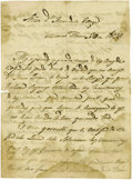 Miscellaneous:Ephemera, Lt. Manuel Rosas. 1836 Letter Describing the Chaos in Texas in theAftermath of the Alamo From the Mexican Perspective....