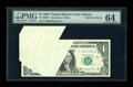 Error Notes:Foldovers, Fr. 1900-F $1 1963 Federal Reserve Note. PMG Choice Uncirculated64.. ...