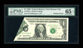 Error Notes:Foldovers, Fr. 1922-J $1 1995 Federal Reserve Note. PMG Gem Uncirculated 65EPQ.. ...