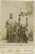 Western Expansion:Indian Artifacts, Cabinet Card of Full Dressed Sioux Chief and Wife, ca. 1880s. ...