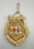 American Indian Art:Beadwork and Quillwork, A PLAINS BEADED HIDE POUCH. c. 1900...