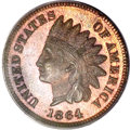 Proof Indian Cents, 1864 1C L On Ribbon PR64 Brown PCGS....