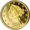 Proof Liberty Half Eagles, 1868 $5 PR64 Deep Cameo PCGS....