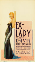 "Movie Posters:Drama, Ex-Lady (Warner Brothers, 1933). Midget Window Card (8"" X 14"")...."