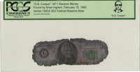 """D. B. Cooper"" 1971 Ransom Money. Serial #L49839325B. Series 1963A $20 Federal Reserve Note. Certified and enc..."