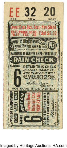 1931 world series game 6 ticket stub 1931 saw the st lot 42149